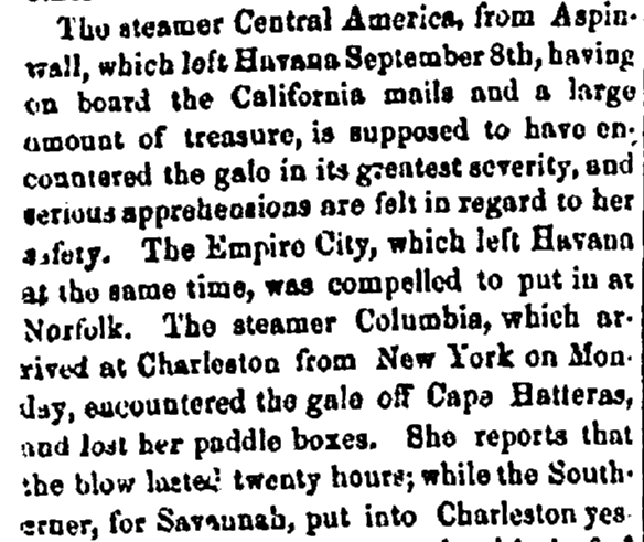 An article about the shipwreck of the SS Central America, Philadelphia Inquirer newspaper article 17 September 1857