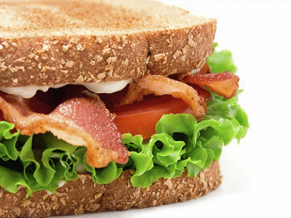 Photo: a bacon, lettuce and tomato sandwich on toasted bread. Credit: Steven Groves; Wikimedia Commons.