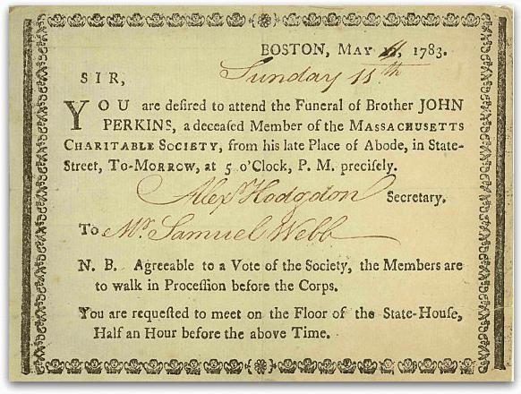 John Perkins death card, 1783