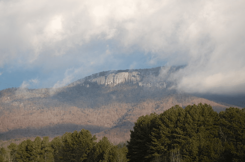 Photo: Table Rock Mountain from Lake Oolenoy, within Table Rock State Park, Pickens County, South Carolina