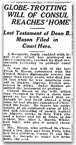 An article about Dean Mason's will, Plain Dealer newspaper article 25 August 1917