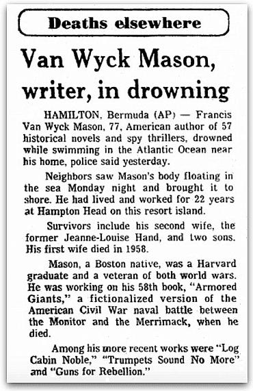 An obituary for Francis Van Wyck Mason, Plain Dealer newspaper article 30 August 1978