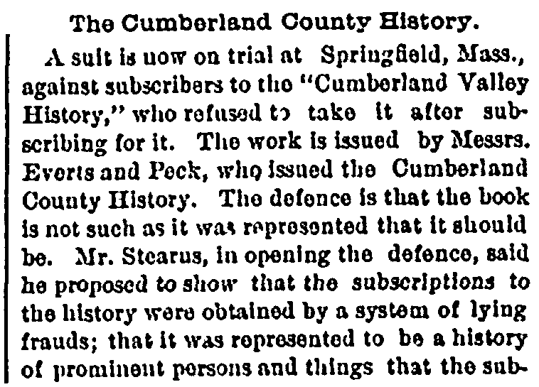 An article about the Cumberland County History book, Portland Daily Press newspaper article 17 March 1880
