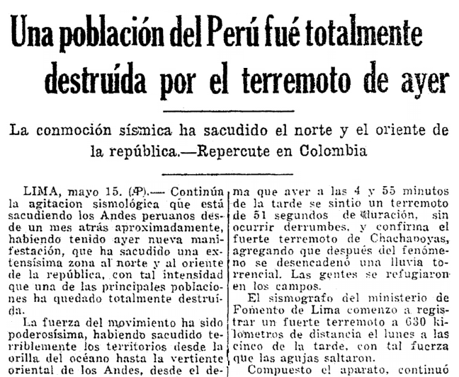An article about an earthquake in Peru, Prensa newspaper article 16 May 1928
