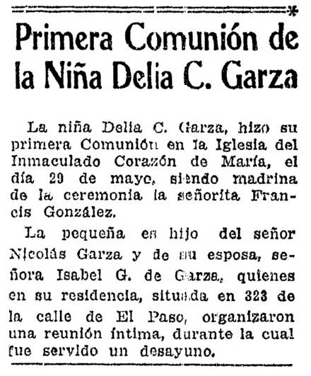 An article about Delia Garza, Prensa newspaper article 19 June 1938