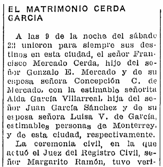 Wedding notices, Prensa newspaper article 23 September 1934