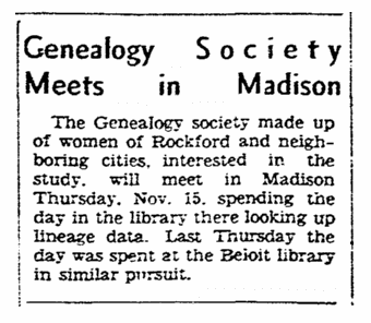 An article about a genealogy society, Register-Republic newspaper article 20 October 1934