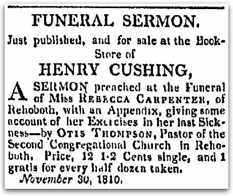 An ad by bookseller Henry Cushing, Rhode-Island American newspaper advertisement 18 December 1810