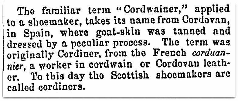 An article about cordwainers, Salem Observer newspaper article 3 March 1860