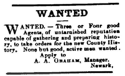A help wanted ad for salesmen to sell county history books, Somerset Press newspaper article 3 November 1881