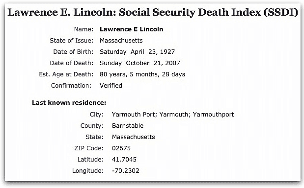 The Social Security Death Index record for Lawrence Lincoln