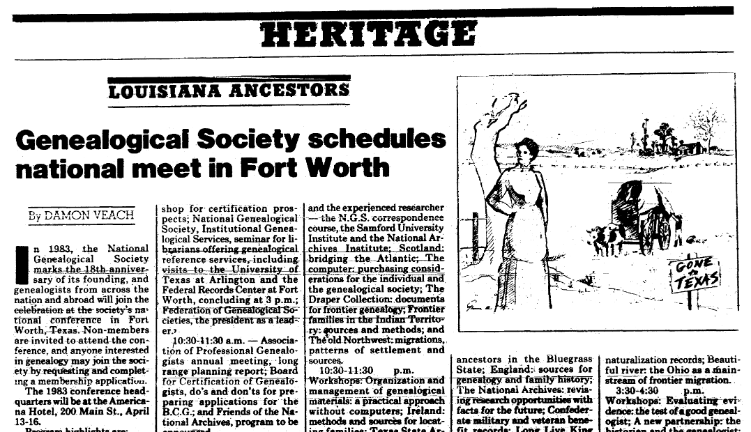 An article about a genealogy society, State Times Advocate newspaper article 2 January 1983