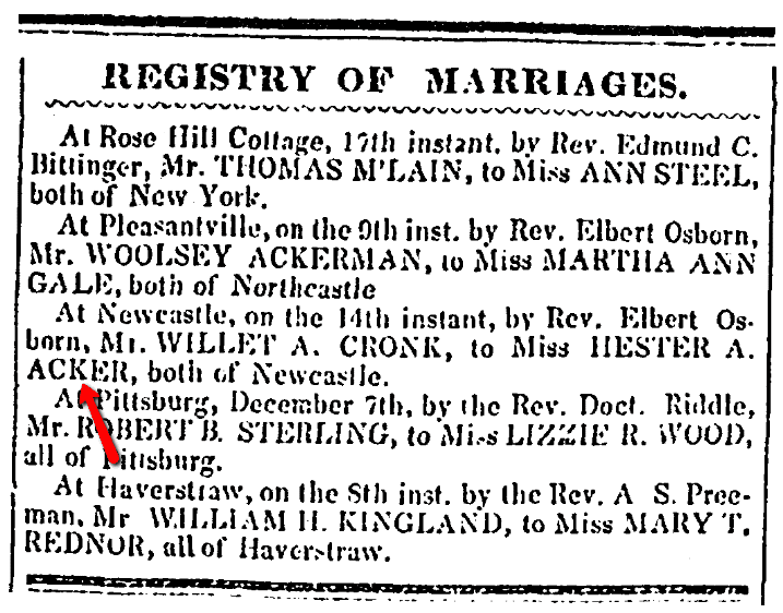 A wedding notice for Willet Cronk and Hester Acker, Westchester Herald newspaper article 23 January 1849