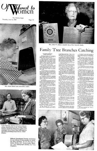 An article about genealogy, Wichita Eagle newspaper article 12 June 1969