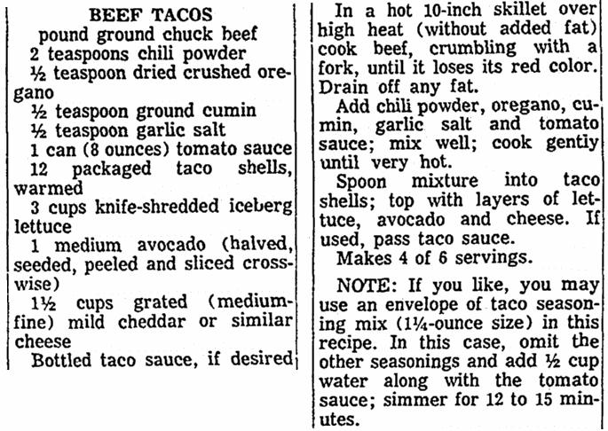 A taco recipe, Advocate newspaper article 23 May 1971