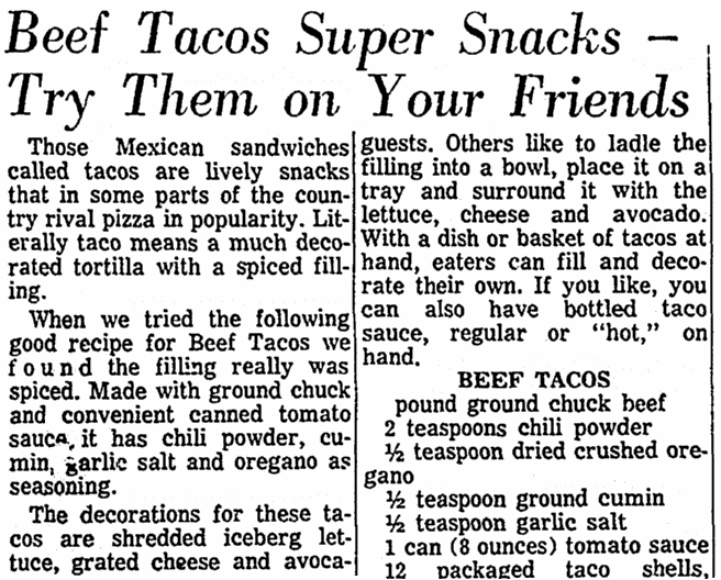 An article about tacos, Advocate newspaper article 23 May 1971
