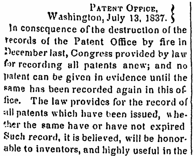 An article about the 1836 fire that destroyed many records from the U.S. Patent Office, Alexandria Gazette newspaper article 17 July 1837