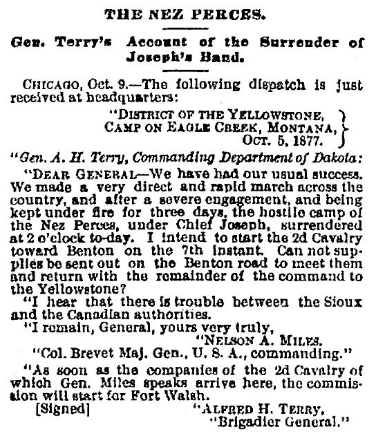 An article about Chief Joseph and the Nez Perce surrender, Cincinnati Daily Gazette newspaper article 10 October 1877