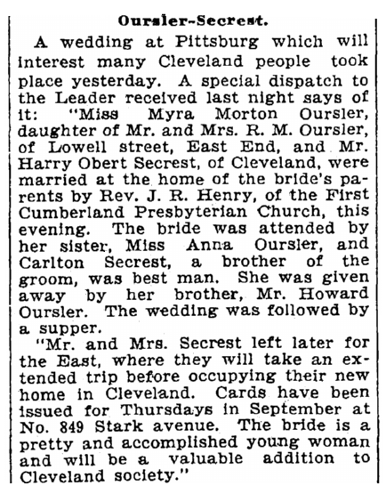 A wedding announcement for Myra Oursler and Harry Secrest, Cleveland Leader newspaper article 2 June 1901