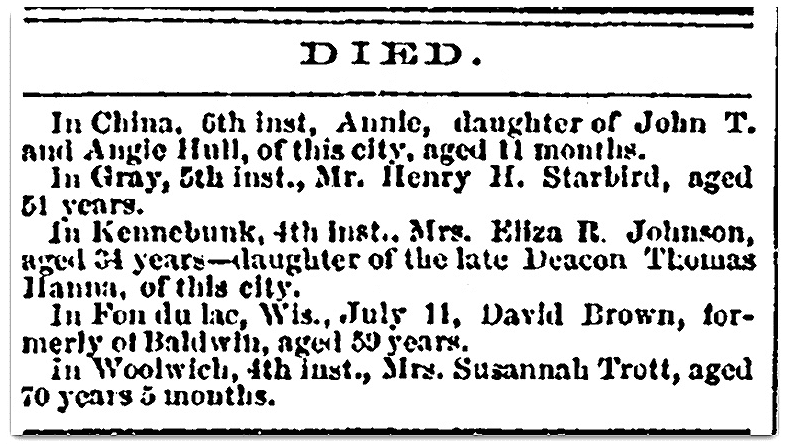 An obituary for Henry Starbird, Daily Eastern Argus newspaper article 9 August 1867