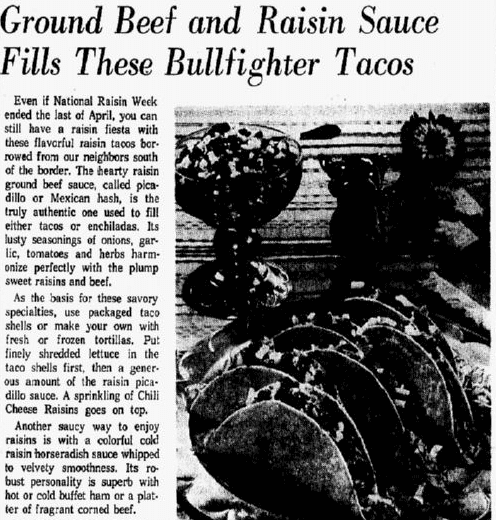 An article about tacos, Dallas Morning News newspaper article 6 May 1965