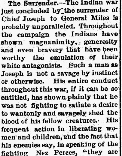 An article about Chief Joseph and the Nez Perce surrender, Deseret Evening News newspaper article 11 October 1877