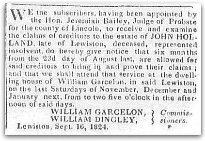 An article about William Garcelon, Gazette newspaper article 28 September 1824
