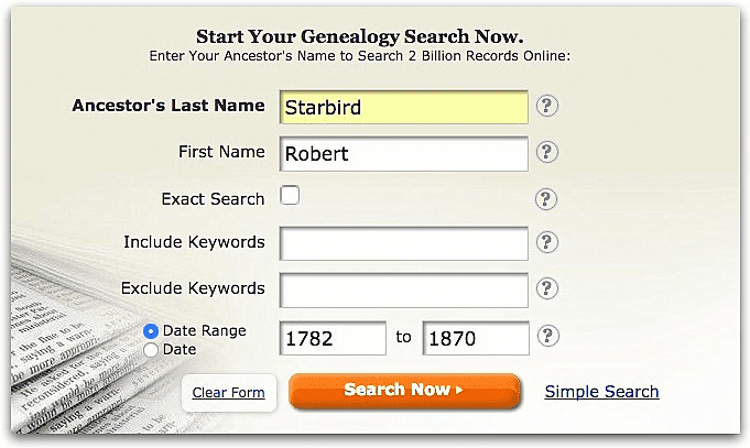 A screenshot of GenealogyBank's search page showing a search for Robert Starbird