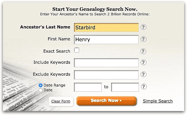 A screenshot of GenealogyBank's search page showing a search for Henry Starbird