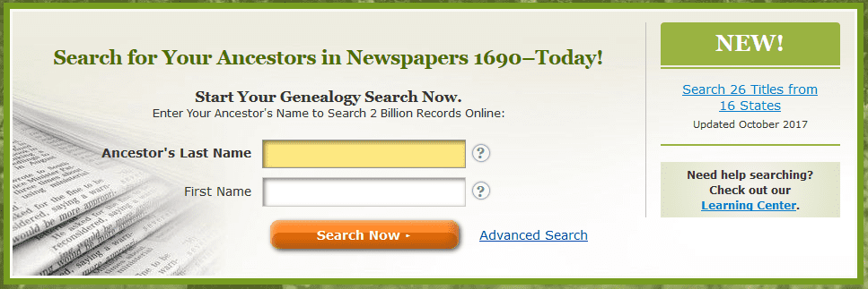 A screenshot of GenealogyBank's home page showing the announcement for new content added in October 2017