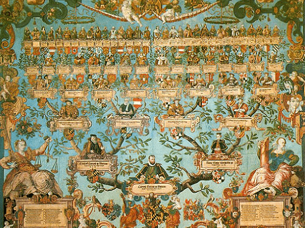 Illustration: the family tree of Ludwig Herzog von Württemberg (ruled 1568–1593), by Jakob Lederlein, 1585. Credit: Landesmuseum Württemberg; Robert Uhland; Wikimedia Commons.