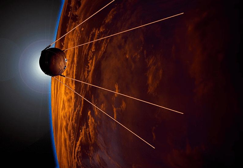 Illustration: artist's impression of Sputnik 1 in orbit