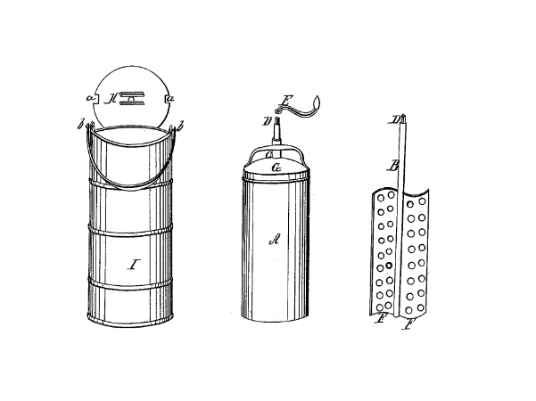 Illustration: drawing from the 1843 patent for Nancy M. Johnson of Philadelphia, Pennsylvania, for her invention of a freezer.