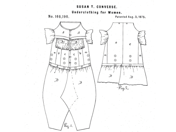 Photo: detail from the drawing from Susan T. Converse's patent for women's underwear. Credit: U.S. Patent and Trademark Office; Google Patents.