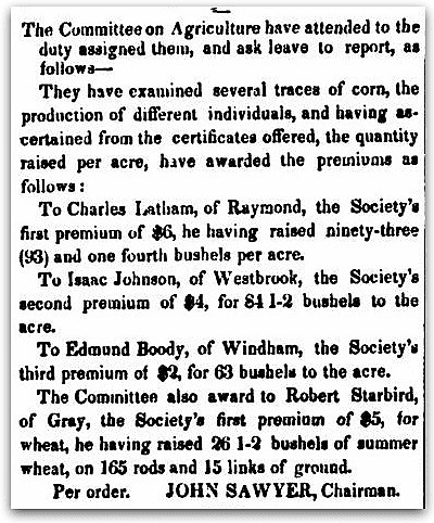 An article about Robert Starbird, Maine Farmer and Mechanic's Advocate newspaper article 18 November 1843