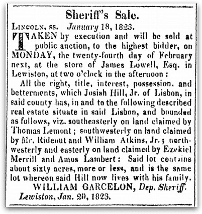 An article about William Garcelon, Maine Gazette newspaper article 14 February 1823