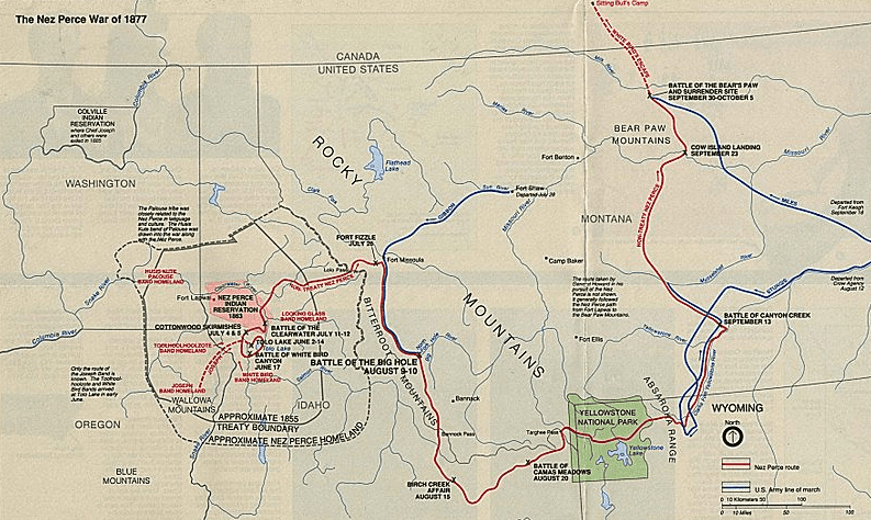 Map: map showing the flight of the Nez Perce and key battle sites of the 1877 Nez Perce War