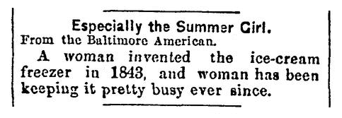 An article about the invention of the freezer, Milwaukee Journal-Sentinel newspaper article 5 May 1891