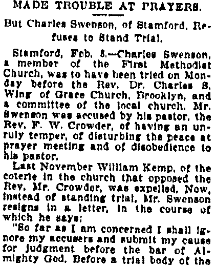 An article about Charles Swenson, 8 February 1900