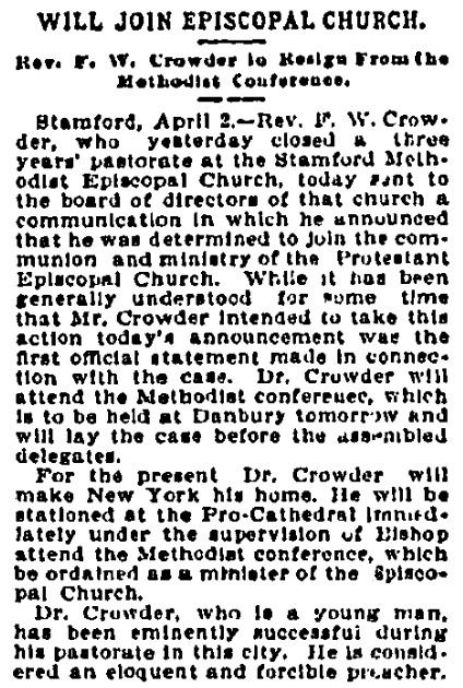 An article about Frank Crowder, New Haven Register newspaper article 2 April 1900