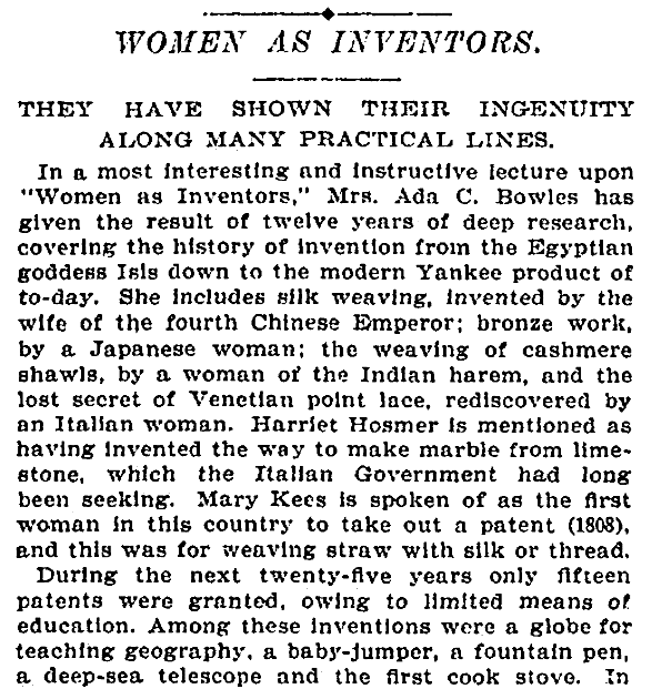 An article about women inventors, New York Tribune newspaper article 19 June 1899