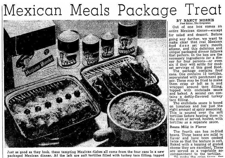 An article about Mexican food, Oregonian newspaper article 14 July 1952