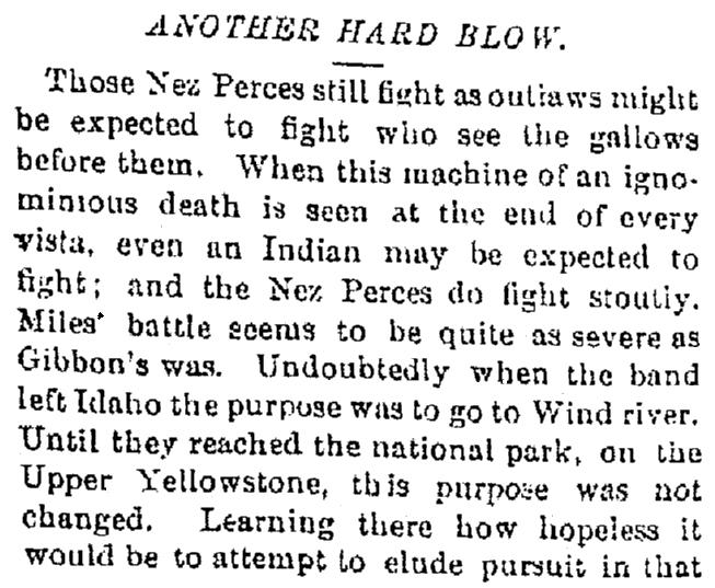 An article about Chief Joseph and the Nez Perce surrender, Oregonian newspaper article 10 October 1877