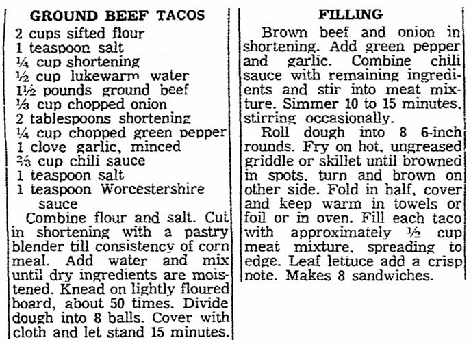 A taco recipe, Oregonian newspaper article 4 November 1960