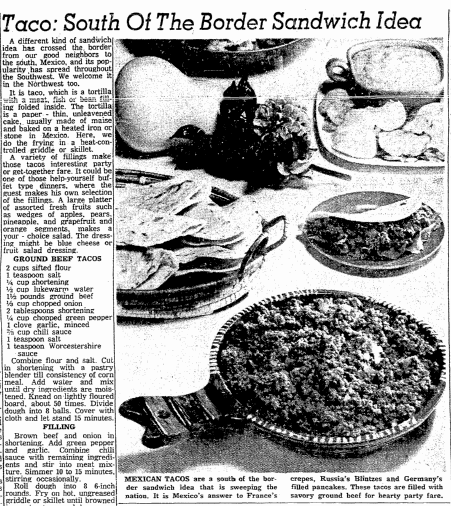 An article about tacos, Oregonian newspaper article 4 November 1960
