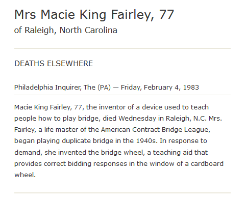 An obituary for Macie Fairley, Philadelphia Inquirer newspaper article 4 February 1983