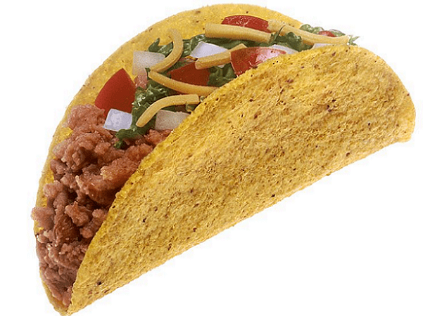 Photo: hard-shell taco with meat, cheese, lettuce, tomatoes, and onions. Credit: Renee Comet; National Institutes of Health; Wikimedia Commons.