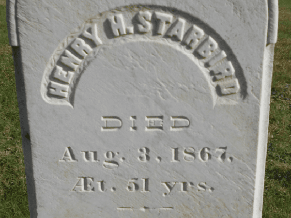 Photo: detail from the headstone of Henry Starbird. Credit: Find-A-Grave.
