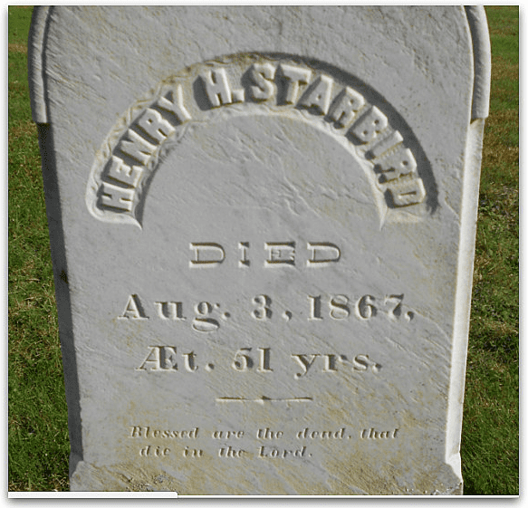 Photo: headstone for Henry Starbird