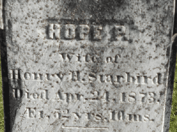 Photo: detail from the headstone of Hope Starbird. Credit: Find-A-Grave.